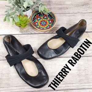 Thierry Rabotin Leather Flats Mary Jane Black 37 M